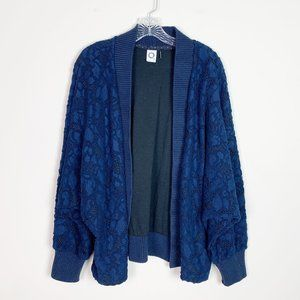 Anthropologie | lace overlay oversized cardigan L